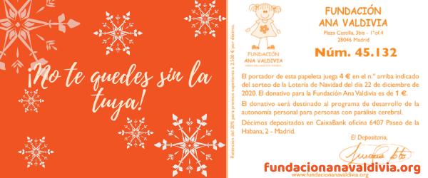 Lotería de Navidad de la Fundación Ana Valdivia, ¡ya está disponible!